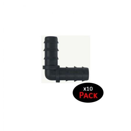 Codo 16mm goteo negro (Pack x 10)