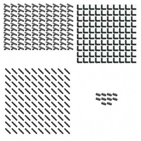 Pack Riego por goteo 16mm: 100 te + 100 codo + 100 enlace + 10 tapón
