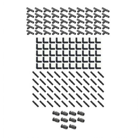 Pack Riego por goteo 16mm: 50 te + 50 codo + 50 enlace + 10 tapón