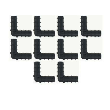 Codo 20mm goteo negro (Pack x 10)