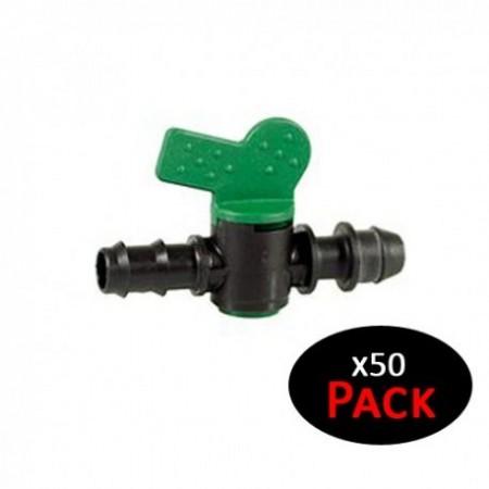 Llave de paso riego por goteo 16mm a toma derivación 16mm (Pack 50 uds)