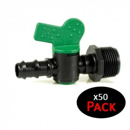"""Llave de paso 16mm para riego por goteo x 3/4"""" rosca macho (Pack 50 uds)"""