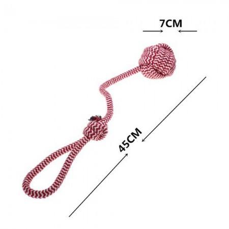 Mordedor de cuerda 45 cm con bola para perro. Colores se sirven según disponibilidad