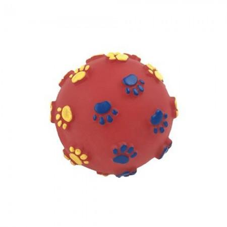 Pelota de goma con dibujos de huellas 7,5 cm. Colores se sirven según disponibilidad