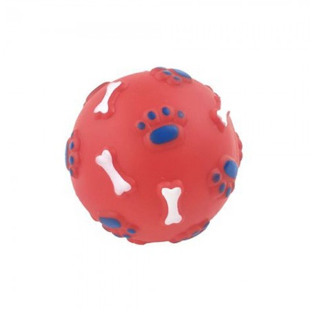 Pelota de goma con dibujos de huellas y huesitos 9 cm. Colores se sirven según disponibilidad