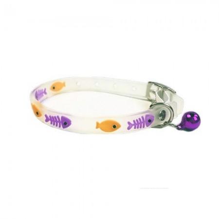 Collar para gato con detalles lila de material fluorescente y cascabel