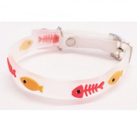 Collar para gato con detalles rojo de material fluorescente y cascabel