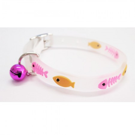 Collar para gato con detalles rosa de material fluorescente y cascabel