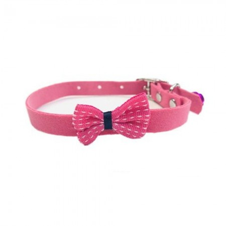 Collar para gato con lazo rosa de fieltro con cascabel