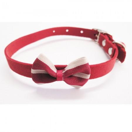 Collar para gato con lazo rojo de fieltro con cascabel