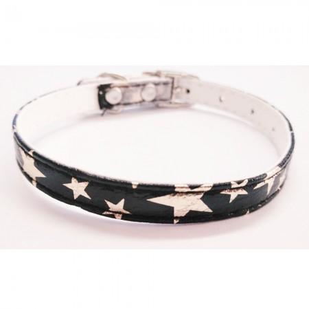 Collar para gato con estrellas color negro con cascabel