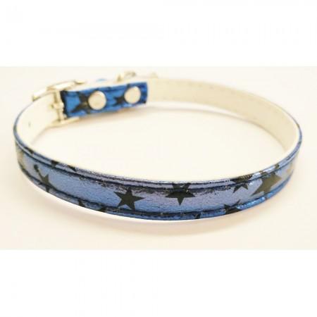 Collar para gato con estrellas color azul con cascabel