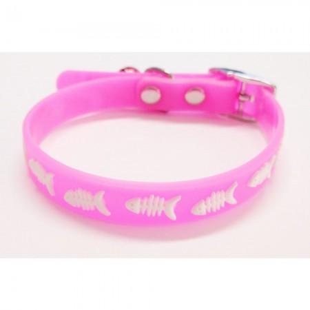 Collar para gato color rosa de silicona con cascabel