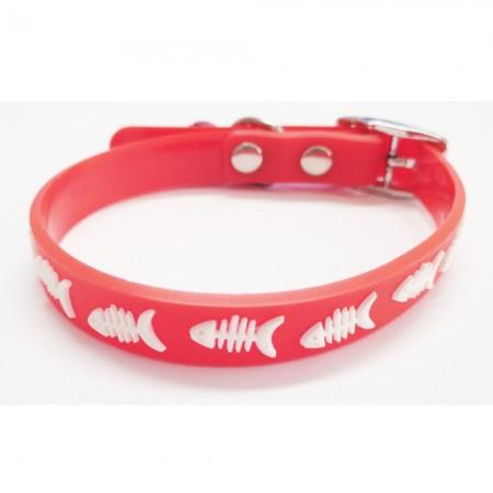 Collar para gato color rojo de silicona con cascabel