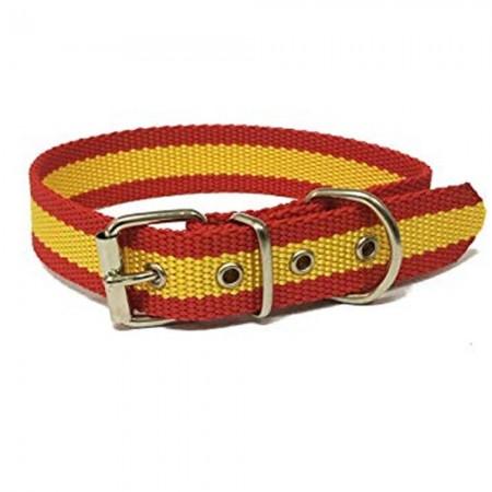 Collar de perro bandera de España de nailon con refuerzo en piel 45 cms