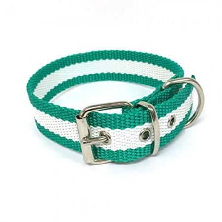 Collar de perro bandera de Andalucía de nailon con refuerzo en piel 45 cms