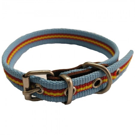 Collar de perro bandera de España color celeste de algodón 35 cms