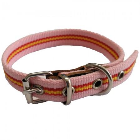 Collar de perro bandera de España color rosa de algodón 40 cms