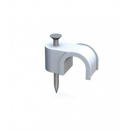 Grapilla con clavo de acero para cable manguera blanca 2x1 en caja de 100 unidades