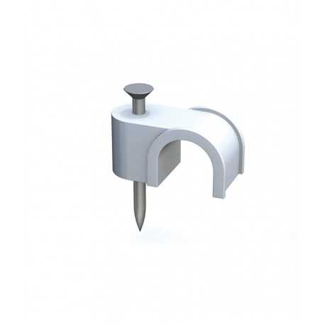 Grapilla con clavo de acero para cable manguera blanca 2x25 en caja de 100 unidades