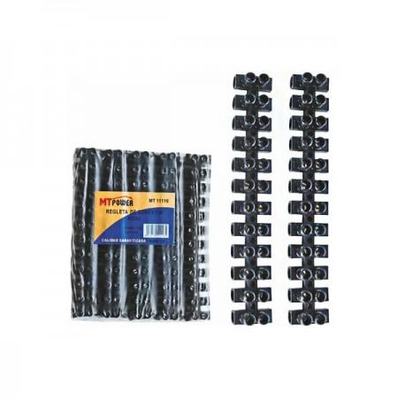 Regleta de conexión negra - 16 mm - 10 uds