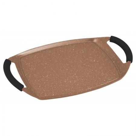 Plancha grill de inducción 47cm con revestimiento de piedra marron