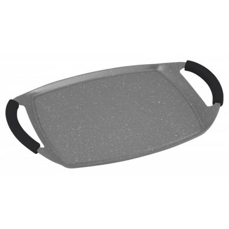 Plancha grill de inducción 47cm con revestimiento de piedra gris