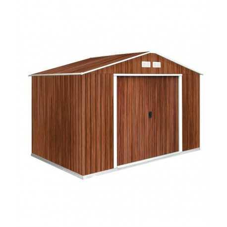caseta metalica 3,2x2,40 mtrs. color madera
