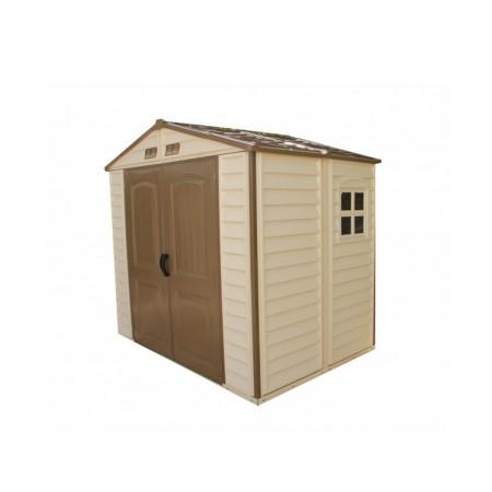 caseta de pvc de 2,4x1,6 mtrs incluye estructura de suelo color marfil y marron