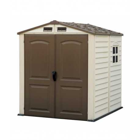caseta de pvc de 1,87x1,87 mtrs incluye suelo color marfil y marron