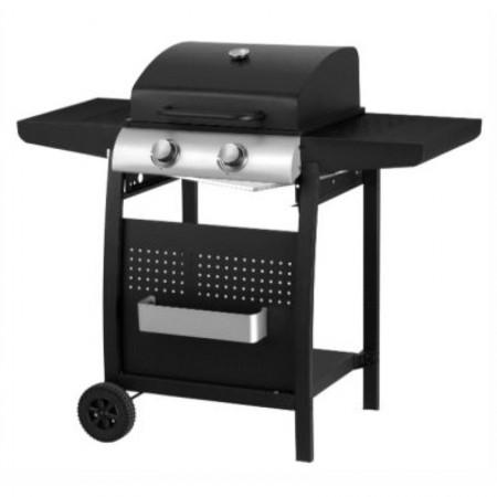 Barbecue a gas a 2 fuochi con finitura nera