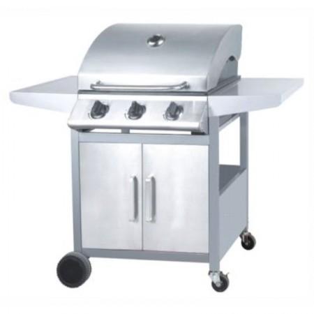 Barbecue a gas a 3 fuochi con finitura inox