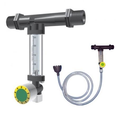 Inyector Venturi de fertilizante 25Ø 3mm con llave dosificadora