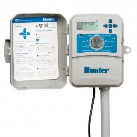 Programador Hunter X2-401 exterior 4 estaciones compatible con WiFi